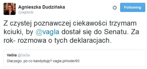 Agnieszka Dudzińska trzyma kciuki