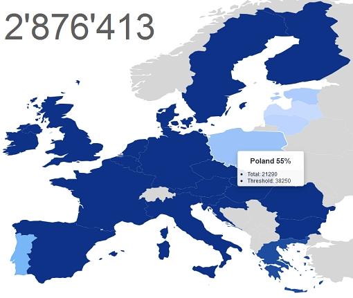 Aktualny stan zbiórki - zrzut ekranu na interaktywnej mapie Europy