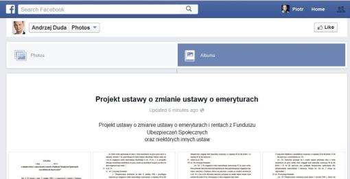 Projekt ustawy prezydenckiej w serwisie Facebook