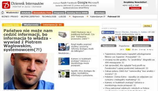 Zrzut ekranu strony głównej Dziennika Internautów