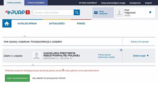 Screenshot strony ePUAP