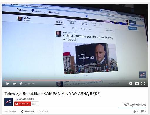 Fotomontaż w serwisie Facebook, który nagrywa TV Republika, którą widzę w YouTube, a zrzut ekranu umieszczam w swoim serwisie