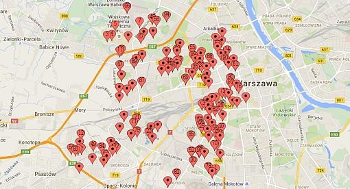 Lokale wyborcze w okręgu nr 45 do senatu na mapie Warszawy