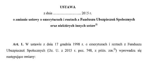 nagłówek ustawy o zmianie ustawy o emeryturach...