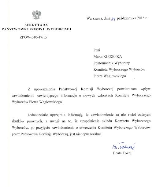 Odpowiedź z PKW w sprawie rozszerzenia rozszerzania składu Komitetu Wyborczego