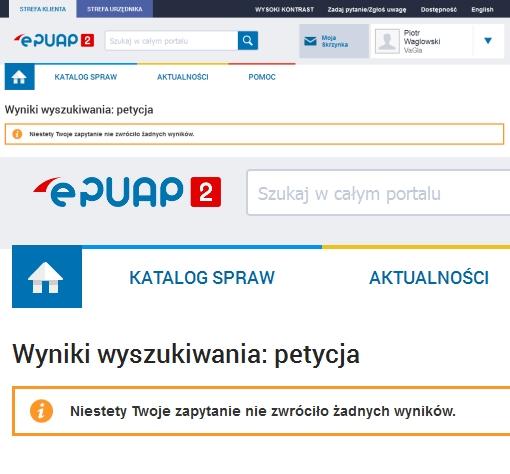 ePUAP nie wie nic o petycjach