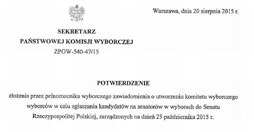 Nagłówek potwierdzenia złożenia zawiadomienia o utworzeniu komitetu wyborczego