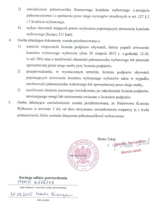 Pierwsza strona potwierdzenie zawiadomienia o utworzeniu Komitetu Wyborczego Wyborców Piotra Waglowskiego w wyborach do Senatu