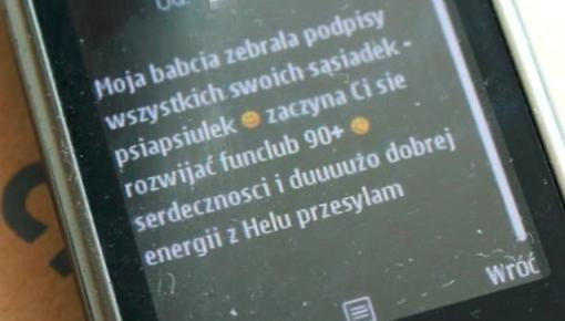 SMS z pozdrowieniami z Helu i informacja o fanklubie 90+