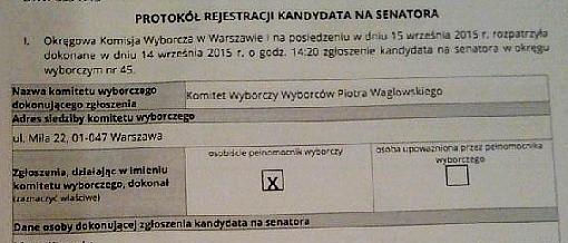 nagłówek protokołu rejestracji kandydata