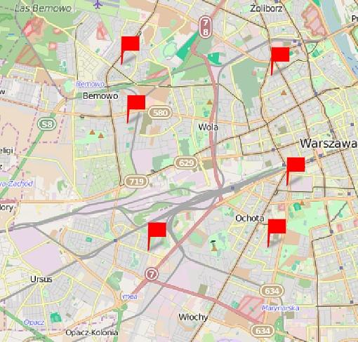 Punkty zbiórki podpisów na mapie Warszawy