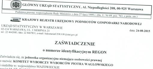 Fragment zaświadczenia o nadaniu numeru REGON Komitetowi Wyborczemu Wyborców