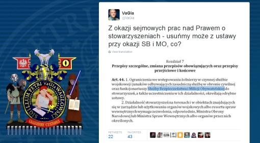 Komunikat na Twitterze w sprawie usunięcia przepisów o MO i SB z ustawy Prawo o stowarzyszeniach