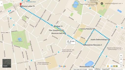 Trasa marszu z literkami