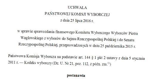 Nagłówek uchwały w sprawie sprawozdania finansowego<br /> Komitetu Wyborczego Wyborców Piotra Waglowskiego z wyborów do Sejmu Rzeczypospolitej Polskiej i do Senatu Rzeczypospolitej Polskiej, przeprowadzonych w dniu<br /> 25 października 2015r.