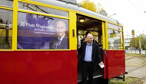 Piotr Waglowski w tramwaju topomyśl