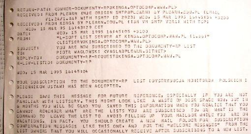 wydruk zgłoszenia na listę dokumentów RP