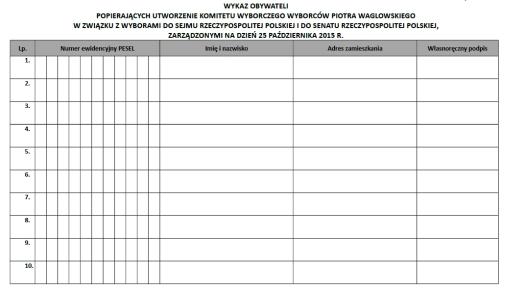 Czysty formularz listy poparcia utworzenia komitetu wyborczego wyborców