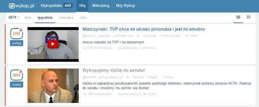Zrzut ekranu serwisu Wykop - hity tygodnia