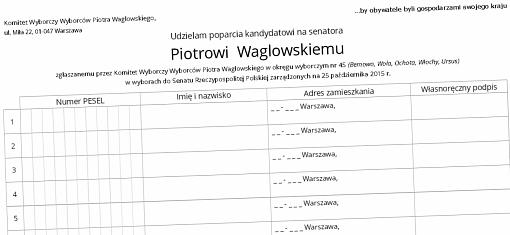 Formularz zbiórki podpisów pod kandydaturą Piotra Waglowskiego